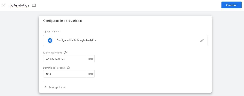 creación variable analytics tag manager