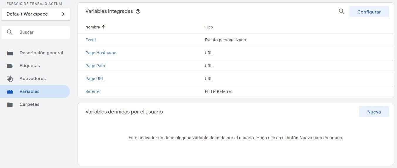 variable definida usuario tag manager