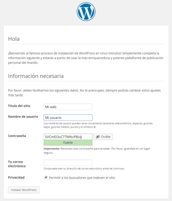 Installation template in WordPress