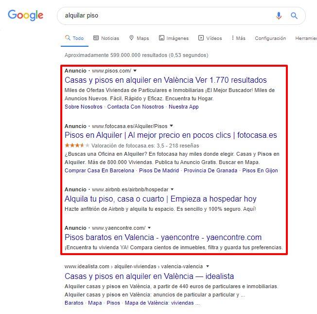 anuncios de búsqueda de google