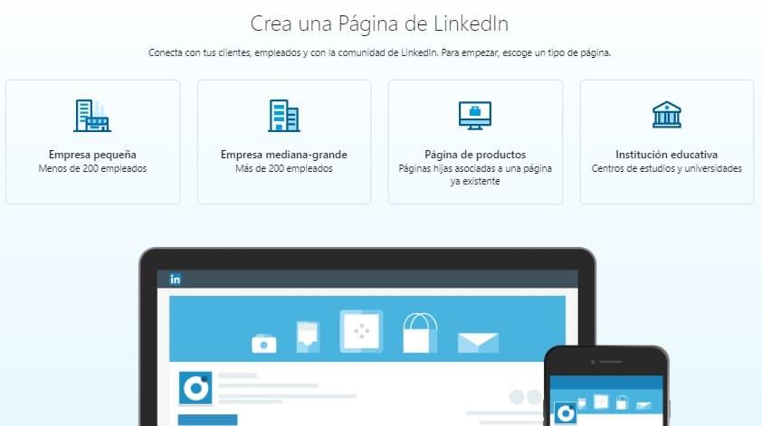 páginas de empresa para LinkedIn