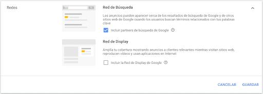 Configuración en una campaña de google ads