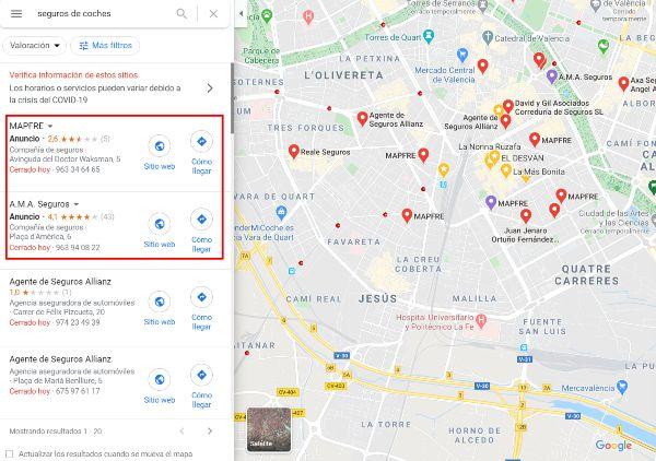 Anuncios en Google Maps