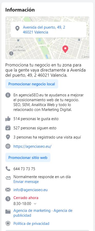 Información de contacto en la página para mejorar el posicionamiento en Facebook