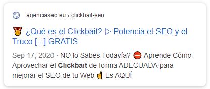 Resultado en Google de un titular click bait