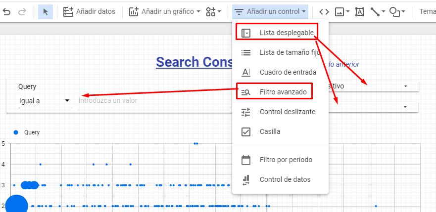 filtros search console