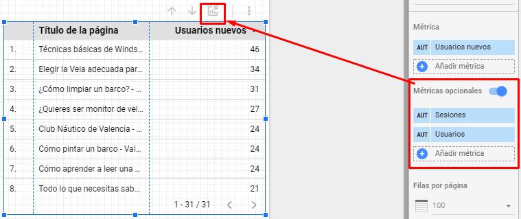 métricas opcionales